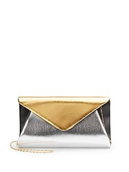 Saks Fifth Avenue Monique Colorblock Convertible Clutch Silver Multi