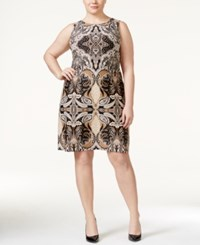 Charter Club Plus Size Paisley Print Sleeveless Shift Dress Only At Macy's Deep Black Combo