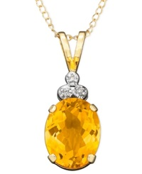 Macy's 10K Gold Citrine And Diamond Accent Pendant