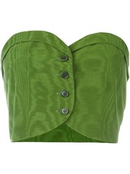 Romeo Gigli Vintage Buttoned Bustier Top Green