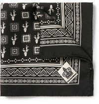 Dolce And Gabbana Cactus Print Silk Twill Pocket Square Black
