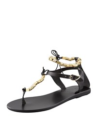 Ancient Greek Sandals Chrysso Beaded Thong Sandal Black