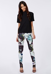 Missguided Zelie Contrast Floral Print Scuba Leggings Black