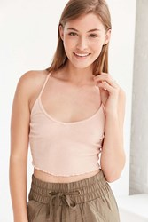 Truly Madly Deeply Gab Lettuce Edge Cropped Top Pink