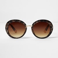 River Island Womens Brown Animal Print Smoke Tinted Sunglasses