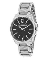 Steve Madden Analog Alloy Strap Chainlink Watch Silver