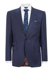 New And Lingwood Reading Sb2 Check Peak Lapel Suit Jacket Blue