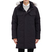 Canada Goose Men's Fur Trimmed Hooded Parka Black Blue Black Blue