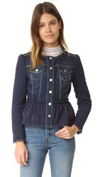 Rebecca Taylor Stretch Tweed Denim Jacket Violet Stone Combo