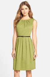 Belted Woven Fit And Flare Dress Olive