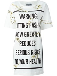 Moschino Fashion Kills T Shirt Dress White