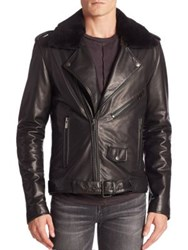 Blk Dnm Leather And Fur Jacket Black