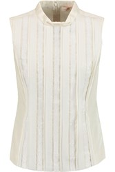 Tory Burch Pearl Embellished Wool And Silk Blend Top White
