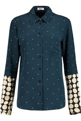 Issa Portland Polka Dot Silk Charmeuse Shirt Blue
