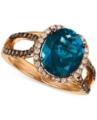 Le Vian Chocolatier London Blue Topaz 4 Ct. T.W. And Diamond 3 8 Ct. T.W. Ring In 14K Rose Gold