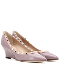 Valentino Rockstud Patent Leather Wedge Pumps Purple