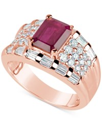 Macy's Ruby 1 3 4 Ct. T.W. And Diamond 1 1 6 Ct. T.W. Ring In 14K Rose Gold Red