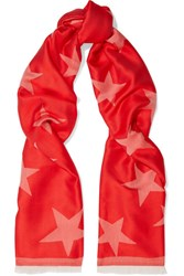 Stella Mccartney Silk And Modal Blend Jacquard Scarf Red