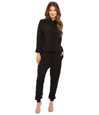 Just Cavalli Solid Jumpsuit Washed Silk Jersey Black