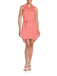 Kensie Clam Shell Print Shirtdress Coral Combo