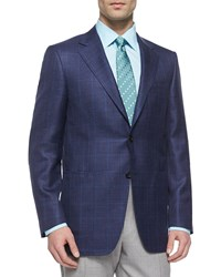 Canali Two Button Plaid Sport Coat Navy Green