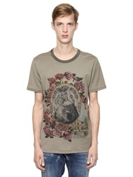 Dolce And Gabbana Madonna Roses Cotton Jersey T Shirt