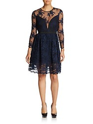 Abs By Allen Schwartz Illusion Lace A Line Dress Navy