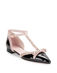 Kate Spade Becca Patent Leather T Strap Flats Black