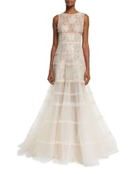 Oscar De La Renta Sleeveless Tiered Tulle And Lace Gown Gold