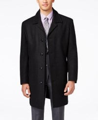 London Fog Coventry Solid Wool Blend Overcoat Black