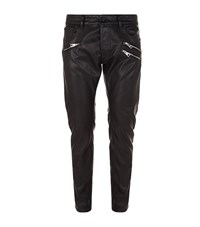 Just Cavalli Zip Detail Leather Trousers Male Black