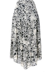 Saint Laurent Floral Print Long Skirt White