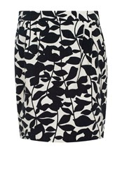 Hallhuber Mini Skirt With Leaf Print Black