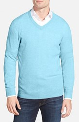 Men's Big And Tall Nordstrom Cashmere V Neck Sweater Blue Skyway