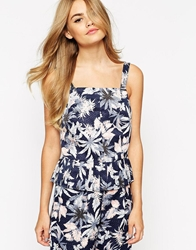 Dahlia Top With Pleated Hem In Leaf Print Navy