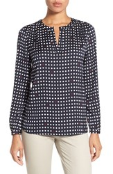 Nordstrom Women's Collection Dot Print Stretch Silk Blouse Navy Night Random Dot Geo