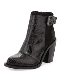 Luxury Rebel Maggie Croc Embossed And Suede Leather Bootie Black