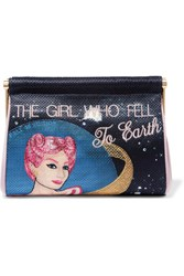 Charlotte Olympia The Girl Who Fell To Earth Maggie Embroidered Crepe De Chine Clutch Black