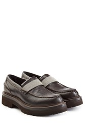 Brunello Cucinelli Textured Leather Loafers Brown
