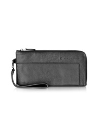 Piquadro Vibe Zip Around Leather Wallet Clutch Black