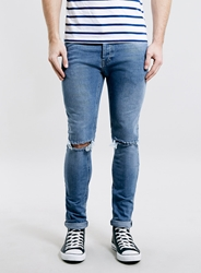 Topman Light Wash Blue Stretch Skinny Ripped Jeans