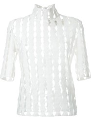 Awake Laser Cut High Neck Blouse White