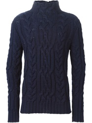 Bark Cable Knit Sweater Blue
