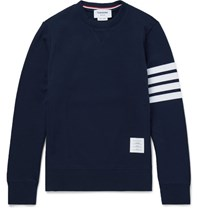 Thom Browne Striped Loopback Cotton Jersey Sweatshirt Navy