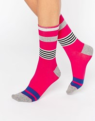 Jonathan Aston Striped Sock Magenta Pink