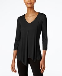 Cable And Gauge Asymmetrical Hem Top Black