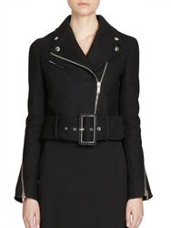 Givenchy Cropped Belted Wool Moto Jacket Black