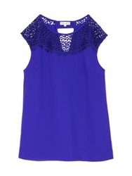 Reiss Elcho Lace Insert Sleeveless Top Blue Abyss