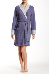 Natori Shawl Collar Wrap Blue
