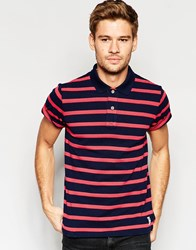 Esprit Stripe Pique Polo Shirt Red